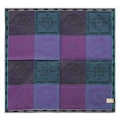VERSACE 凡賽斯 時尚太陽logo圖騰彩色大格紋領帕巾(紫)989017-4