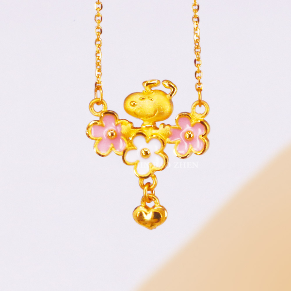 史努比SNOOPY-金色花漾史努比-黃金項鍊(鎖骨鍊)