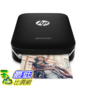 [107美國直購] 行動印表機 HP Sprocket Portable Photo Printer social media photos on 2x3 sticky-backed paper (X7N08A)