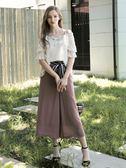 秋冬單一價[H2O]顯瘦具垂墜感附點點條紋腰帶雪紡長褲裙 - 藍/黑/粉色 #8658003