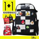 imitu [1+1]【憤怒鳥 Angry Birds】昇華格紋護脊書背包 + 萬用手提袋