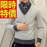 長袖毛衣保暖精美-復古薄款假兩件式男襯衫 3色59ac37【巴黎精品】