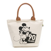 Disney 俏皮獻禮 厚磅硬挺手提帆布包-米