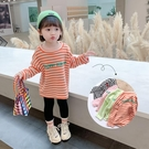 女童長袖T恤2020新款兒童洋氣秋裝女寶寶韓版上衣條紋字母打底衫  【端午節特惠】