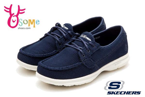 SKECHERS 女休閒鞋 經典鞋款 GO STEP超輕量健走鞋O8276#藍色◆OSOME奧森童鞋/小朋友
