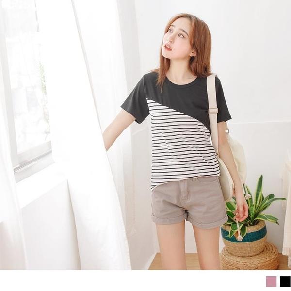 《AB12778》台灣製造.日系條紋視覺修身拼接長版T恤/上衣 OrangeBear