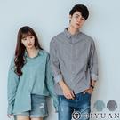 【OBIYUAN】休閒襯衫 情侶 前短後長 寬大 圓弧 條紋 長袖襯衫 共2色【X6912】