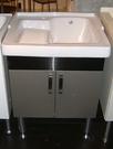 【麗室衛浴】陶瓷洗衣槽 表面光滑好整理 含白鐵製浴櫃 P-301+P-302