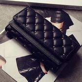韓版新款女士錢包女包時尚復古鉚釘菱格三折皮夾大容量卡包零錢包 晴天時尚館
