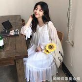 夏裝新款韓版V字領口綁帶長袖雪紡仙女裙中長款洋裝長裙女 糖糖日系森女屋