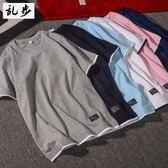 T恤潮牌夏季T恤男短袖原創假兩件短袖T恤青少年日系拼色純棉T恤男 電購3C