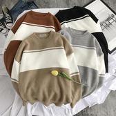 針織外套圓領毛衣男寬鬆韓版潮流拼色針織衫男士線衣套頭外套