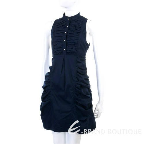 GAETANONAVARRA 深藍色抓皺削肩洋裝 0920151-23