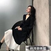 春秋新款長袖兩件套女秋款連身裙收腰顯瘦氣質時尚套裝長款 交換禮物