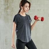 大碼運動t恤女夏季胖mm短袖寬鬆上衣網紅健身房瑜珈服性感速干衣