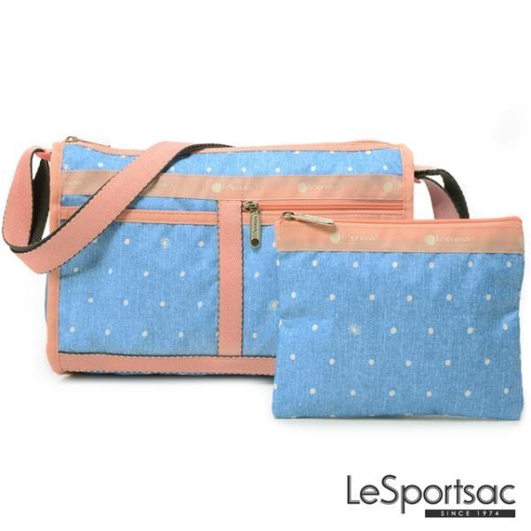【南紡購物中心】LeSportsac - Standard雙口袋斜背包-附化妝包 (牛仔點點) 7519P F678