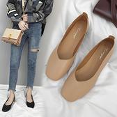 2021夏季新款復古奶奶鞋女平底圓頭百搭單鞋淺口一腳蹬懶人豆豆鞋