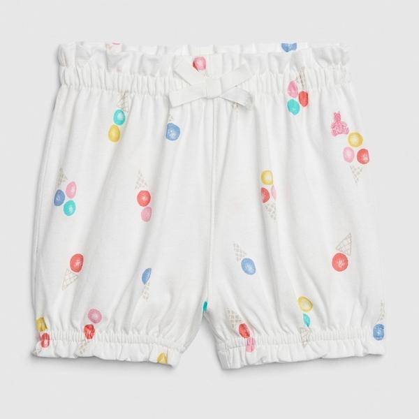 Gap女嬰可愛波點鬆緊腰針織短褲543704-冰淇林印花