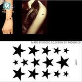 防水 紋身 貼紙 黑色 實心 五角 星星 小清新 刺青 圖案