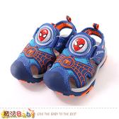 男童鞋 蜘蛛人授權正版護趾防撞閃燈運動涼鞋 魔法Baby
