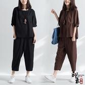 文藝純色棉麻寬鬆半袖上衣 蘿卜哈倫九分褲兩件時尚套 週年慶降價