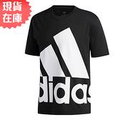 【現貨】ADIDAS BIG LOGO 男裝 短袖 休閒 純棉 大LOGO 黑【運動世界】GK3325