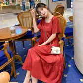 孕婦裝夏天裙子2019新款時尚純色方領休閒甜美長裙寬鬆孕婦洋裝 滿天星