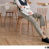 《BA4633-》英倫知性大格紋彈性寬褲 OB嚴選
