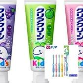 日本原裝 KAO 兒童牙膏(葡萄/草莓/哈蜜瓜)70g*6+牙刷(6~12)*6