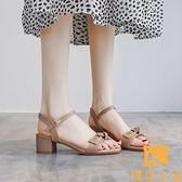 涼鞋夏季女中跟粗跟網美一字扣帶仙女風時尚百搭【慢客生活】