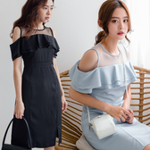 現貨-MIUSTAR 透膚網紗挖肩雙層荷葉雪紡洋裝(共3色)【NH2040】