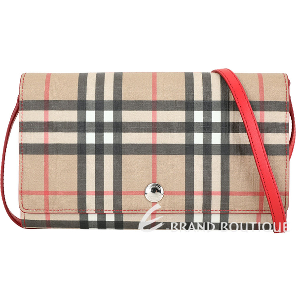 BURBERRY Vintage 格紋環保帆布長夾/肩背包(亮紅色) 1940134-54