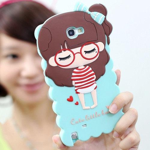 iphone5/5S免運 S4 i9500三星note2 S3/9300 iphone 4/4S iphone 5卡通小希矽膠套 N7100最新款