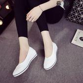 一字牌護士鞋白色坡跟小白鞋樂福鞋 SDN-4582