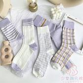 三雙裝 紫色中筒襪襪子女香芋紫春薄款韓國條紋格子【少女顏究院】
