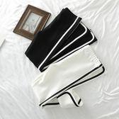 春夏新款韓版純棉拉條緊身顯瘦黑白條紋小腳外穿