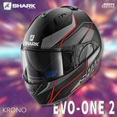 [中壢安信]法國SHARK EVO-ONE 2 彩繪 KRONO 消光黑紅 可樂帽 全罩 可掀式 安全帽 內墨片
