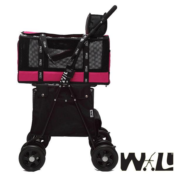 【WILL設計 + 寵物用品】雙層萬搭可拆式推車+WB03極透氣外出袋(愛戀桃&大容量購物袋)