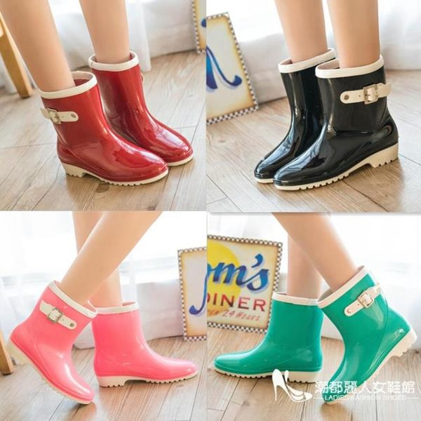 女雨鞋時尚中筒防水防滑雨靴平跟韓版果凍水鞋水膠鞋【印象閣樓】