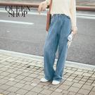 Queen Shop【04011358】休閒落地牛仔寬褲 S/M/L*現+預*