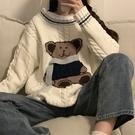 小熊女生針織衫 長袖女生韓版毛衣 女士毛衣時尚加厚上衣 個性日系學生潮流秋冬保暖打底衫