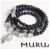 天然瑪瑙水晶藍砂石貓眼石時尚韓版多層串珠女葫蘆手鏈手串