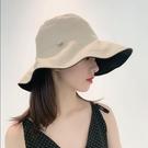 日單尾貨uv雙面防曬漁夫帽大簷遮陽防紫外線兩面戴遮陽帽子女 【快速出貨】