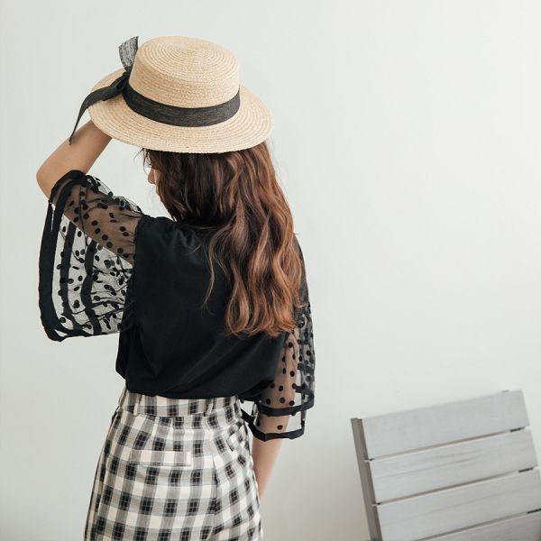 MIUSTAR 雙層點點網紗袖棉質上衣(共2色)【NH1857】預購