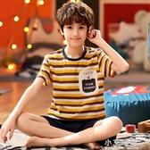 兒童睡衣男童短袖純棉夏季中大童條紋休閒卡通男孩家居服套裝薄款 小艾時尚