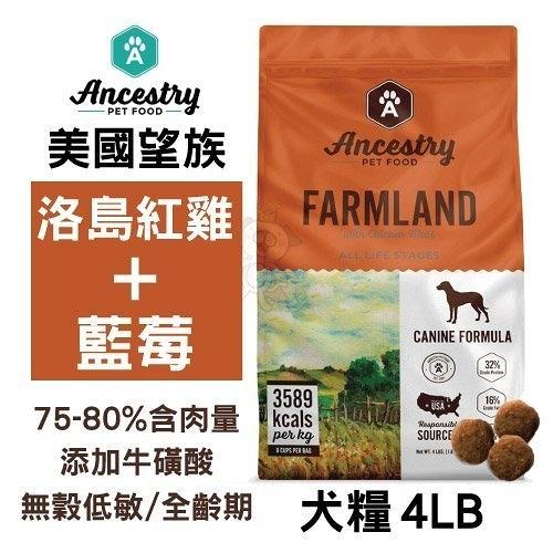 《48HR快速出貨》*KING*Ancestry 美國望族 天然犬糧(無穀系列)洛島紅雞+藍莓 4LB/包