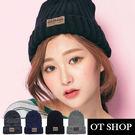 OT SHOP帽子‧素色簡約條紋反摺雙層針織‧針織帽毛帽‧歐美時尚中性保暖情侶款‧現貨4色‧C1753