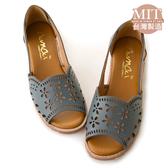 amai MIT台灣製造。古著雕花真皮鏤空魚口低跟涼鞋 藍