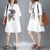 大尺碼 減齡女裝2018夏裝新款韓版寬鬆大碼連帽中袖連衣裙中長款t恤裙子 快速出貨