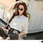 《AB14707-》純色短版西裝領排扣五分袖上衣罩衫 OB嚴選